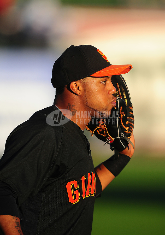 Mar. 15, 2010; Surprise, AZ, USA; San Francisco Giants outfielder Darren Ford against the Texas Rangers during a spring training game at Surprise Stadium. Mandatory Credit: Mark J. Rebilas-