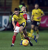Oxford United's Cameron Brannagan gets past Fleetwood Town's Ross Wallace<br /> <br /> Photographer Rich Linley/CameraSport<br /> <br /> The EFL Sky Bet League One - Fleetwood Town v Oxford United - Saturday 12th January 2019 - Highbury Stadium - Fleetwood<br /> <br /> World Copyright &copy; 2019 CameraSport. All rights reserved. 43 Linden Ave. Countesthorpe. Leicester. England. LE8 5PG - Tel: +44 (0) 116 277 4147 - admin@camerasport.com - www.camerasport.com