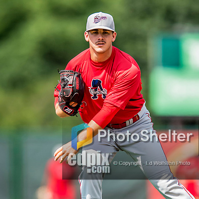 16 July 2017: Auburn Doubledays pitcher Ben Braymer works on pre-game drills prior to a game against the Vermont Lake Monsters at Centennial Field in Burlington, Vermont. The Monsters defeated the Doubledays 6-3 in NY Penn League action. Mandatory Credit: Ed Wolfstein Photo *** RAW (NEF) Image File Available ***