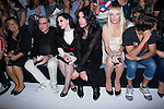01.09.2012. Celebrities attending the David Delfin fashion show during the Mercedes-Benz Fashion Week Madrid Spring/Summer 2013 at Ifema. In the image (L-R) Elena Benaroch,  Alaska, Mario Vaquerizo, Topacio Fresh and Martin Rivas  (Alterphotos/Marta Gonzalez)