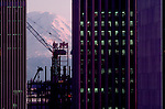 Seattle, Mount Rainier contrasts with Highrise Construction, Columbia Center, circa 1984, Pacific Northwest, Washington State, USA,