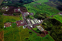Aerial view of the HGPA geo-thermal well site at Puna, Big Island of Hawaii, which became a politically charged environmental issue for the islands.