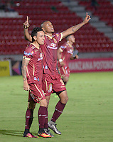 IBAGUE -COLOMBIA, 24-07-2016. Angelo Rodríguez jugador del Tolima   celebra su gol contra  el Once Caldas  durante encuentro  por la fecha 5 de la Liga Aguila II 2016 disputado en el estadio Murillo Toro./  Angelo Rodriguez  player of Tolima celebrates his goal agaisnt of Once Caldas  during match for the date 5 of the Aguila League II 2016 played at Murilo Toro stadium . Photo:VizzorImage / Juan Carlos Escobar  / Contribuidor