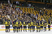 The Warriors salute their fans. - The Merrimack College Warriors defeated the University of New Hampshire Wildcats 4-1 (EN) in their Hockey East Semi-Final on Friday, March 18, 2011, at TD Garden in Boston, Massachusetts.