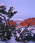 Winter sunrise on Pikes Peak over Garden of the Gods city park, Colorado Springs, CO
