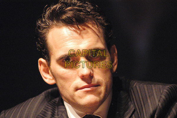 """MATT DILLION.Photocall and interview for """"Travel in the American Cinema"""", auditorium  of  """"Park of Music"""" Rome, Italy.   .October 10th 2004.                          .portrait headshot pin stripe suit.Ref: LC.www.capitalpictures.com.sales@capitalpictures.com.©Luca Cavallari/Capital Pictures ."""