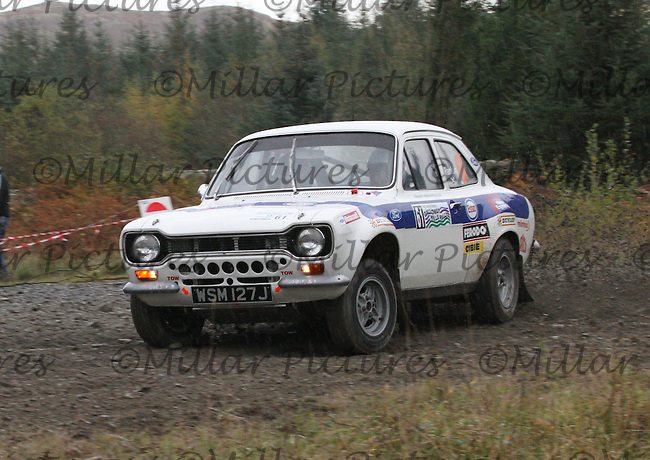 Micky Rankin - Christopher Rankin in a Ford Escort at Junction 5 on Special Stage 1 Glengap of the Armstrong Galloway Hills Rally 2014, Round 9 of the RAC MSA Scottish Rally Championship which was organised by Solway, Machars and East Ayrshire Car Clubs and based in Castle Douglas on 26.10.14.