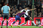 Football Season 2009-2010. Barcelona's player Bojan Krkic (L) and Valencia's  Maduro (R) during their spanish liga soccer match between Barcelona vs Valencia at Camp Nou  stadium in Barcelona. 14 March 2010.
