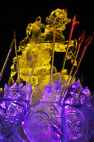 WHO COMES TO US WITH THE SWORD WILL DIE BY THE SWORD. Ivalie Cox Artist Choice Award, by Alexander Zaitsev Ivan Golubev, Valeriy Yurkevich, Vitaliy Lednev. Multi Block, 2003 World Ice Art Championships, Fairbanks Alaska.