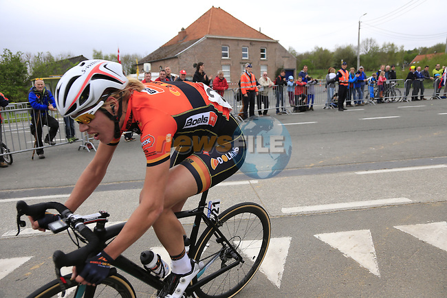 Ellen Van Dijk (NED) Boels Dolmans heads for the Patterberg with a big lead during the 2014 Women's Tour of Flanders, Kwaremont, Belgium.<br /> Picture: Eoin Clarke www.newsfile.ie