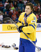 Anton Lander (Sweden - 16) - Team Sweden celebrates after defeating Team Switzerland 11-4 to win the bronze medal in the 2010 World Juniors tournament on Tuesday, January 5, 2010, at the Credit Union Centre in Saskatoon, Saskatchewan.