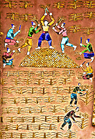 A colorful mosaic on the wall of a temple showing workers reaping a crop of corn. (Photo by Matt Considine - Images of Asia Collection)