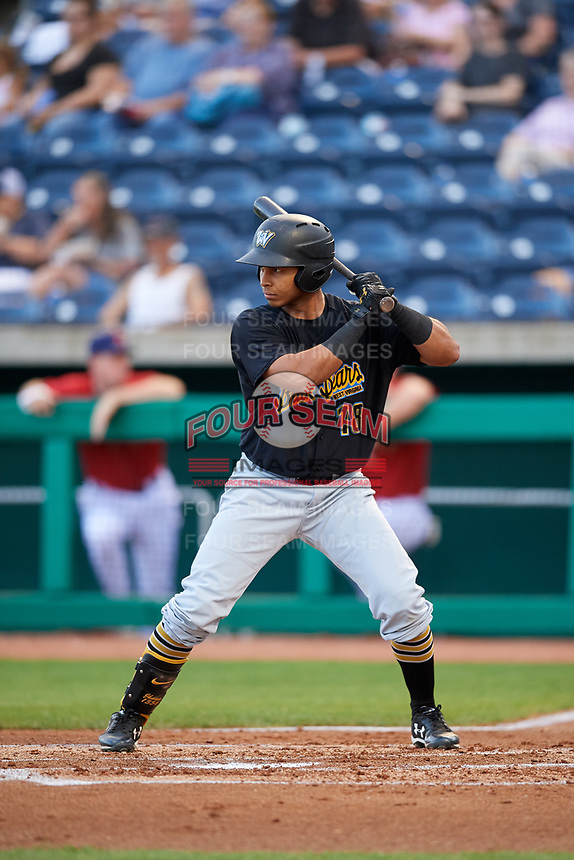West Virginia Black Bears left fielder Edison Lantigua (18) at bat during a game against the State College Spikes on August 30, 2018 at Medlar Field at Lubrano Park in State College, Pennsylvania.  West Virginia defeated State College 5-3.  (Mike Janes/Four Seam Images)