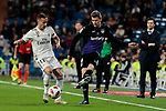 Real Madrid's Lucas Vazquez and CD Leganes's Gerard Gumbau during Copa Del Rey match between Real Madrid and CD Leganes at Santiago Bernabeu Stadium in Madrid, Spain. January 09, 2019. (ALTERPHOTOS/A. Perez Meca)<br />  (ALTERPHOTOS/A. Perez Meca)