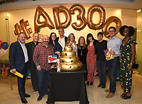 "LOS ANGELES - MAY 21: (L-R) Howard Kurtzman, 20th Century Fox TV/President, Business Operations, Dee Bradley Baker,<br /> Matt Weitzman, EP/Co-Creator/Showrunner<br /> Kara Vallow, Producer, Brian Boyle, EP/Showrunner, Wendy Schaal, Marci Proietto, 20th Century Fox TV/EVP, Animation, Rachael MacFarlane, Jeff Fischer, Jonnie Davis, 20th Century Fox TV/President, Creative Affairs, Olivia Morris, Director, Original Programming TBS Development attend the 300th episode table ready and cake cutting celebration for 20th Century Fox Television's ""American Dad"" on May 21, 2019 in Los Angeles, California. (Photo by Frank Micelotta/20th Century Fox Television/PictureGroup)"