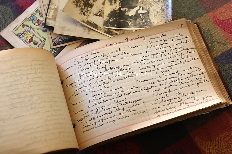 NAUGATUCK CT. 26 October 2015-102615SV03-Michael Bonnardi of Naugatuck wrote two books that honor and preserve the memories and recipes of the early 20th century &ndash; namely the 1930's &amp; 40's. This is a the recipe book he found from his grandparents.<br /> Steven Valenti Republican-American