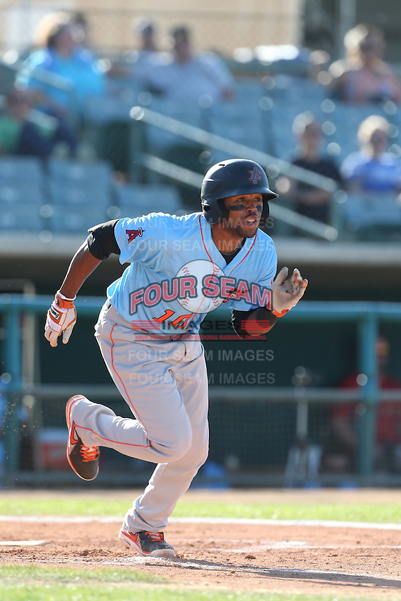 Sherman Johnson #10 of the Inland Empire 66ers bats against the Lancaster JetHawks at The Hanger on May 26, 2014 in Lancaster, California. Lancaster defeated Inland Empire, 6-5. (Larry Goren/Four Seam Images)
