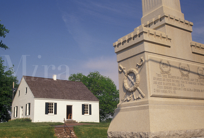 AJ4250, Antietam, Antietam National Battlefield, civil war, Maryland, The Dunker Church and monument at Antietam Nat'l Battlefield in the state of Maryland.