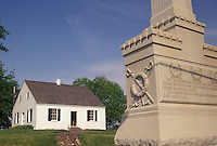AJ4250, Antietam, Antietam National Battlefield, civil war, Maryland, The Dunker Church and monument at Antietam Nat'l Battlefield in the state of Maryland.