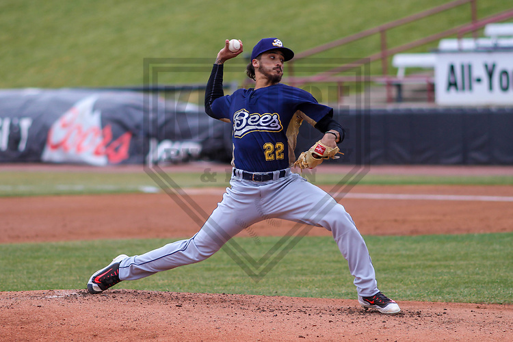 Burlington Bees pitcher Erik Manoah (22) during a Midwest League game against the Wisconsin Timber Rattlers on April 11th, 2017 at Fox Cities Stadium in Appleton, Wisconsin.  Wisconsin defeated Burlington 4-3. (Brad Krause/Krause Sports Photography)