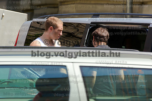 Actor Jai Courtney of Australia costar of the fifth piece in the Die Hard series titled Good Day to Die Hard is seen among members of the crew leaving a locatiion during a shooting day in Budapest, Hungary on May 11, 2012. ATTILA VOLGYI