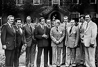 nine premiers and a deputy line up outside hall on York University's Glendon campus. From left: Premiers William Davis of Ontario; Dave Barrett of B.C.; Frank Moores of Newfoundland and Robert Bourassa of Quebec; Deputy Premier Peter Nicholson of Nova Scotia; Premiers Peter lougheed of Alberta; Richard Hatfield of New Brunswick; Allan Blankeney of Saskatchewan; Ed Schreyer of Manitoba and Alex Campbell of Prince Edward Island<br /> <br />  Griffin, Doug<br /> Picture, 1974