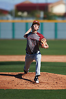 Brennan Holligan (17) of Arbor View High School in Las Vegas, Nevada during the Baseball Factory All-America Pre-Season Tournament, powered by Under Armour, on January 13, 2018 at Sloan Park Complex in Mesa, Arizona.  (Zachary Lucy/Four Seam Images)