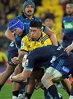 Danny Toala is tackled during the Super Rugby match between the Hurricanes and Blues at Westpac Stadium in Wellington, New Zealand on Saturday, 15 June 2019. Photo: Dave Lintott / lintottphoto.co.nz