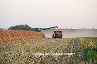 63801-07001 Farmer harvesting corn, Marion Co., IL