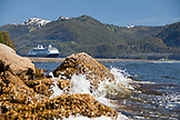 ALASKA, Sitka, a cruise ship is anchored in Crescent Bay, Sitka National Historical Park, Sitka Sound