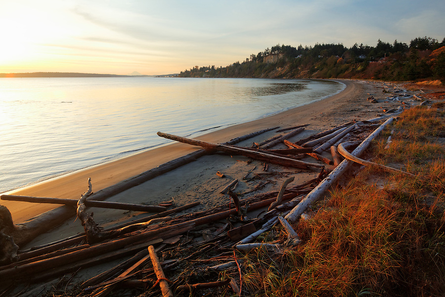 Sandy beach at sunrise, Fort Worden State Park, Port Townsend, Washington, USA