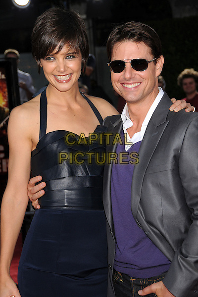 "KATIE HOLMES & TOM CRUISE.""Tropic Thunder"" Los Angeles Premiere at Mann's Village Theatre, Westwood, California, USA..August 11th, 2008.half length married husband wife blue dress halterneck grey gray suit jacket purple sweater sunglasses shades tall short arm over shoulder around waist .CAP/ADM/BP.©Byron Purvis/AdMedia/Capital Pictures."