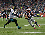 (Foxboro, MA, 01/21/18) New England Patriots wide receiver Danny Amendola (80) carries the ball past Jacksonville Jaguars' Myles Jack (44) during the fourth quarter of the AFC championship NFL football game at Gillette Stadium on Sunday, January 21, 2018. Photo by Christopher Evans