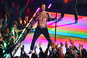 3rd February 2019, Atlanta Georgia, USA; NFL Superbowl LIII, New England Patriots versus Los Angeles Rams;  A shirtless Adam Levine performs during the Pepsi Halftime Show during Super Bowl LIIIire)