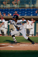 Hudson Valley Renegades Luis Arcendo (13) bunts during a NY-Penn League game against the Mahoning Valley Scrappers on July 15, 2019 at Eastwood Field in Niles, Ohio.  Mahoning Valley defeated Hudson Valley 6-5.  (Mike Janes/Four Seam Images)