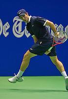 22-12-13,Netherlands, Rotterdam,  Topsportcentrum, Tennis Masters, Igor Sijsling(NED) Hits the ball between the legs<br /> Photo: Henk Koster