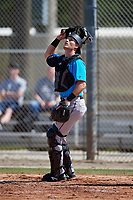 Miami Marlins catcher Gunner Pollman (59) during a Minor League Spring Training Intrasquad game on March 28, 2019 at the Roger Dean Stadium Complex in Jupiter, Florida.  (Mike Janes/Four Seam Images)