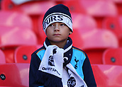 5th November 2017, Wembley Stadium, London England; EPL Premier League football, Tottenham Hotspur versus Crystal Palace; Young spurs fans wrapped up warm looking on from inside Wembley Stadium before kick off