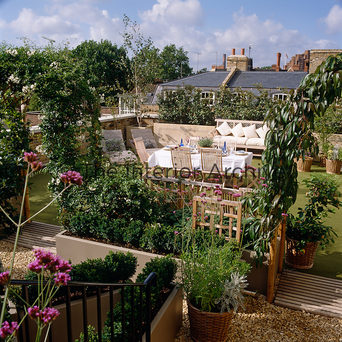 This urban roof terrace has a sitting and dining area surrounded by robust plants and flowering shrubs