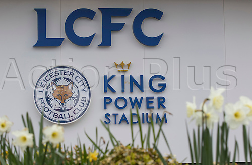 03.04.2016. King Power Stadium, Leicester, England. Barclays Premier League. Leicester versus Southampton.  View of the Leicester City Football Club logo in front of a bed of flowers outside the main entrance.