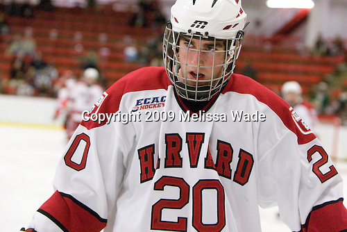Louis Leblanc (Harvard - 20) - The St. Lawrence University Saints defeated the Harvard University Crimson 3-2 on Friday, November 20, 2009, at the Bright Hockey Center in Cambridge, Massachusetts.