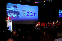 Hall of Fame inductee Bruce Murray gives his acceptance speech during the 2011 National Soccer Hall of Fame induction ceremony in Foxborough, MA, on June 04, 2011.