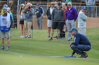 Matt Kuchar (USA) lines up his putt on 18 during Round 2 of the Valero Texas Open, AT&T Oaks Course, TPC San Antonio, San Antonio, Texas, USA. 4/20/2018.<br /> Picture: Golffile | Ken Murray<br /> <br /> <br /> All photo usage must carry mandatory copyright credit (© Golffile | Ken Murray)