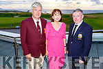 Patrick O'Sullivan (Ballybunion GC Captain), Joan Mulcare and John O'Brien (Tralee GC Captain) attending the Pat Mulcare Junior Golf Trust Fund AM AM Competition at the Tralee Golf Club on Sunday night.