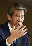 July 21, 2015, Tokyo, Japan - Toshiba President Hisao Tanaka answers questions during a news news conference at its headquarters in Tokyo on Tuesday, July 21, 2015. Tanaka announced his resisgnation, taking responsibility for his part in manipulating deceptive accounting. The Japanese electronics and electrical equipment group's manipulated profits add up to 1.25 billion dollars from fiscal 2008 through December 2014. (Photo by Natsuki Sakai/AFLO) AYF -mis-