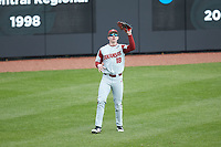 Arkansas Razorbacks left fielder Heston Kjerstad (18) catches a fly ball during the game against the Charlotte 49ers at Hayes Stadium on March 21, 2018 in Charlotte, North Carolina.  The 49ers defeated the Razorbacks 6-3.  (Brian Westerholt/Four Seam Images)