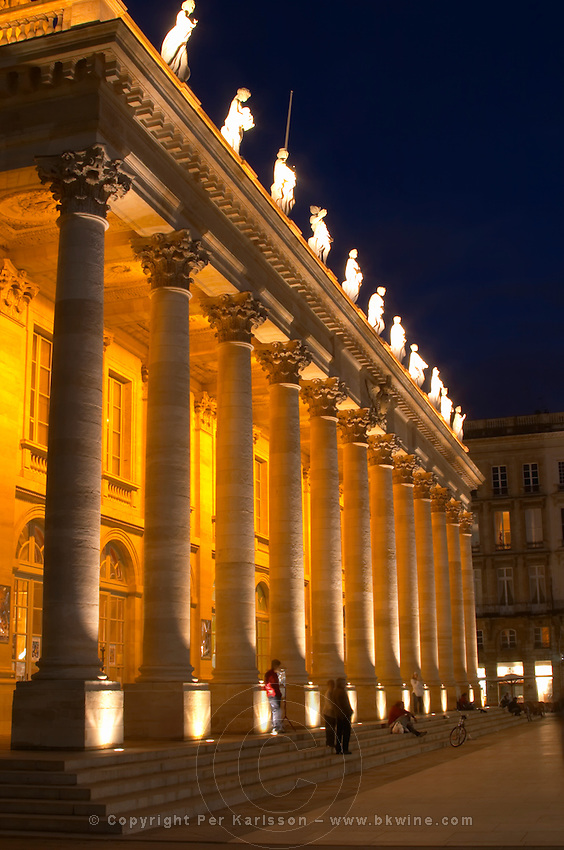 Le Grand Theatre theatre and opera house on Place De La Comedie. Bordeaux city, Aquitaine, Gironde, France
