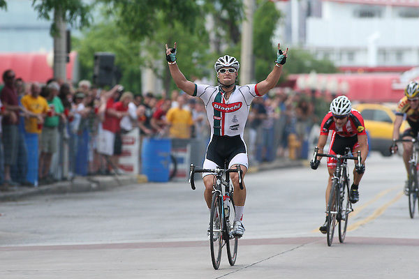Eric Marcotte (Bianchi/Grand Performance) wins the 2007 Quad Cities Criterium.