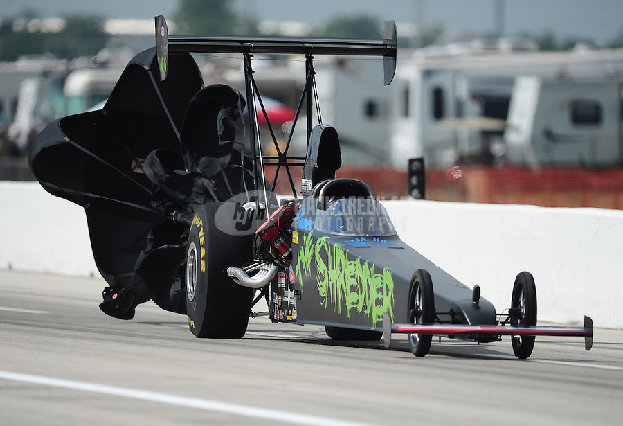 Apr. 28, 2012; Baytown, TX, USA: NHRA top alcohol dragster driver Mike Manners during qualifying for the Spring Nationals at Royal Purple Raceway. Mandatory Credit: Mark J. Rebilas-