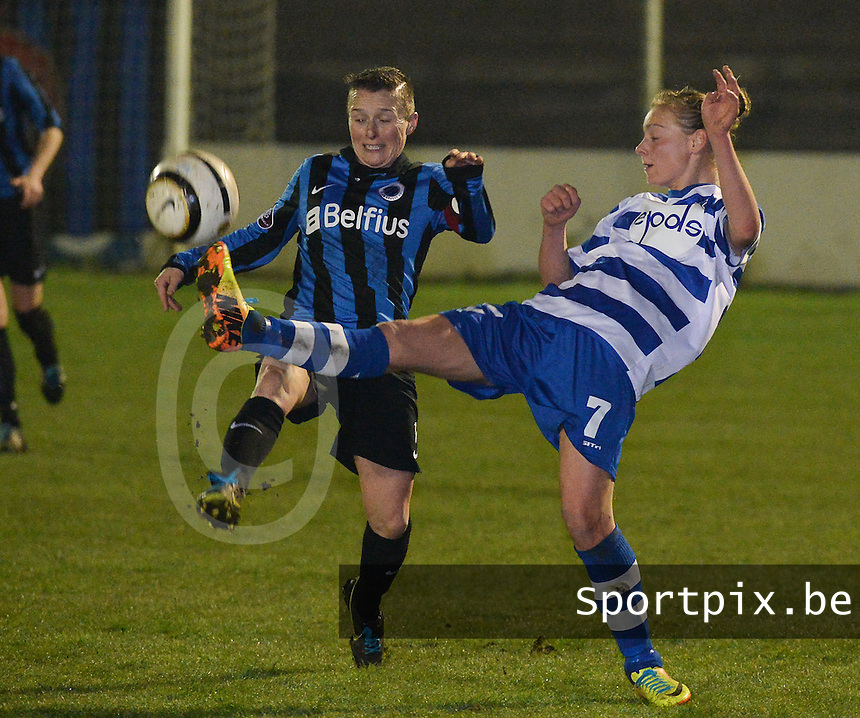 20140326 - AALTER , BELGIUM : duel pictured with Gent's Margaux Van Ackere (r) and Brugge's Christine Saelens (l) during the soccer match between the women teams of Club Brugge Vrouwen  and AA Gent  Ladies , on the 21th matchday of the BeNeleague competition Friday 14 March 2014 in Aalter. PHOTO DAVID CATRY